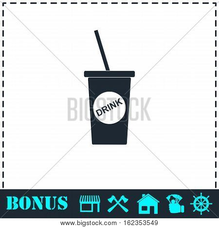Disposable soda cup icon flat. Simple vector symbol and bonus icon
