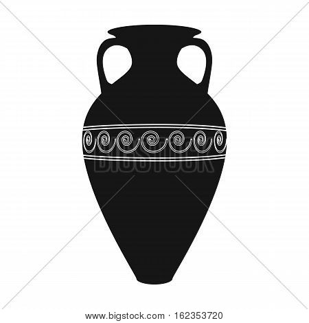 Greece amphora icon in black style isolated on white background. Greece symbol vector illustration.