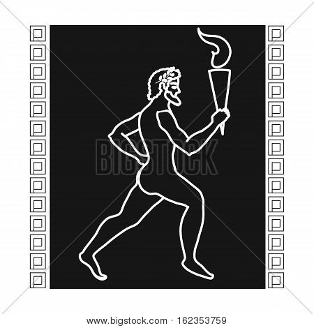 Athlete with olympic fire icon in black style isolated on white background. Greece symbol vector illustration.