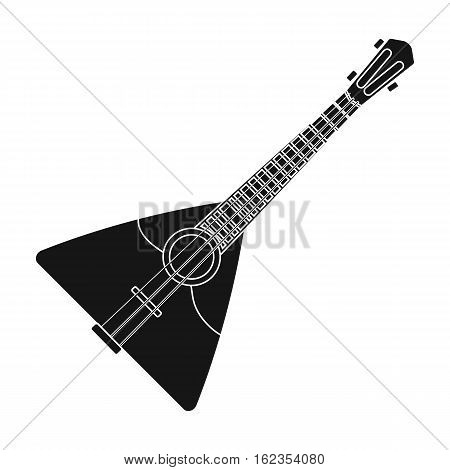 Balalaika icon in black design isolated on white background. Russian country symbol stock vector illustration.