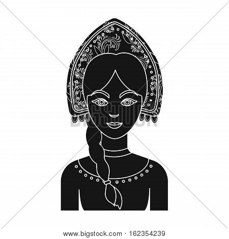 Russian woman in traditional suit icon in black design isolated on white background. Russian country symbol stock vector illustration.
