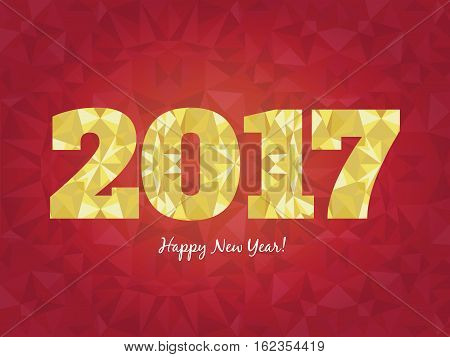 Vector 2017 Happy New Year background with golden glowing numbers and seamless triangles patterns. Perfect for cards, brochures, posters, party invitations.
