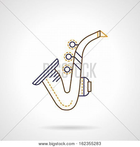 Saxophone thin line abstract symbol. Jazz sax sign, music brass and woodwind instruments. Color flat linear vector icon.