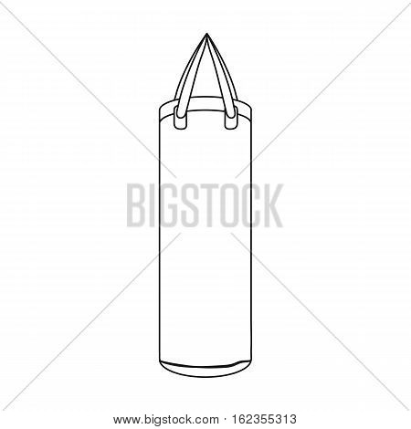 Boxing punching bag icon in outline style isolated on white background. Boxing symbol vector illustration.