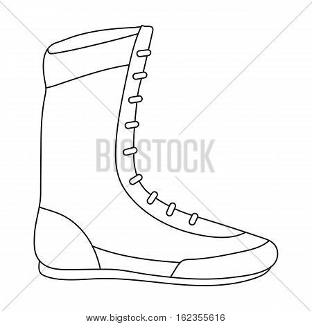 Boxing shoes icon in outline style isolated on white background. Boxing symbol vector illustration.