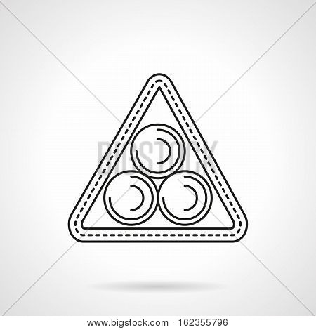 Three billiard balls in triangle. Equipment and accessories for billiards game. Sport and activity leisure concept. Flat black line vector icon.