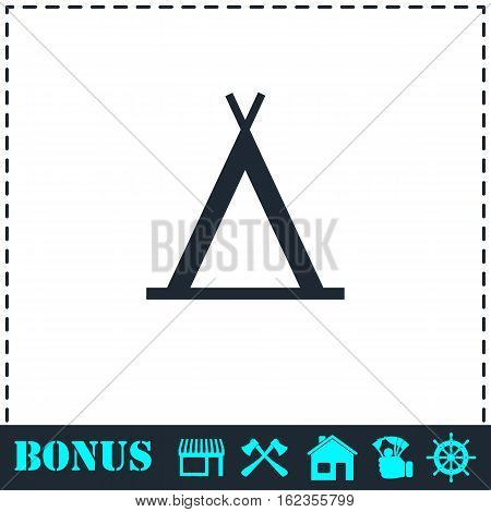 Wigwam icon flat. Simple vector symbol and bonus icon