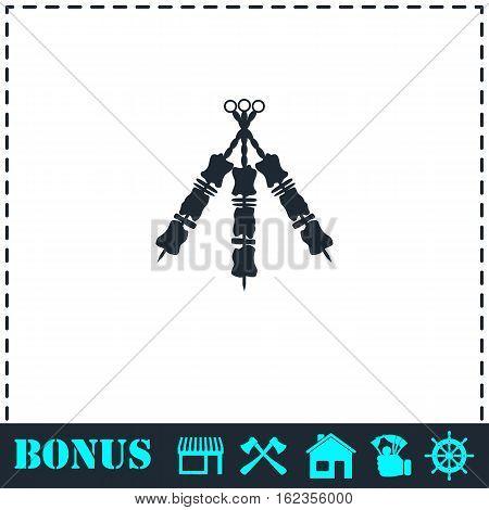 Kebab icon flat. Simple vector symbol and bonus icon