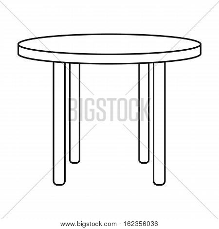 Wooden round table icon in outline style isolated on white background. Furniture and home symbol stock vector illustration.