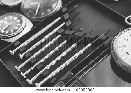 Watch Tools And Set Old Vintage Wrist Watches. Collection Wrist Soviet Hours. Shallow Focus And Film