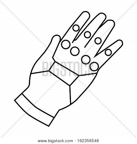 Virtual reality glove controller icon in outline style isolated on white background. Virtual reality symbol vector illustration.