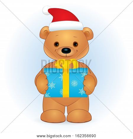 Vector illustration of a cute brown baby bear in a Santa hat holding a gift box with a bow.