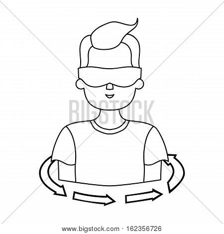 Rotation of player in the virtual reality icon in outline style isolated on white background. Virtual reality symbol vector illustration.