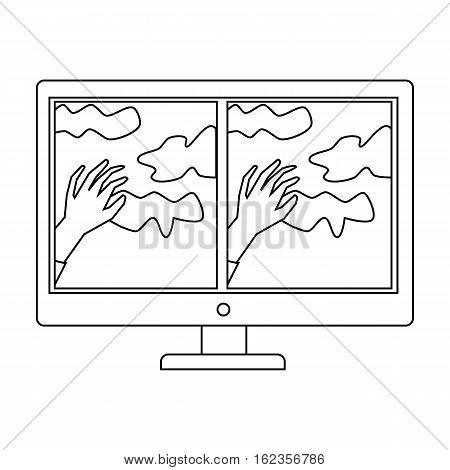 Virtual reality glasses overlay on monitor icon in outline style isolated on white background. Virtual reality symbol vector illustration.