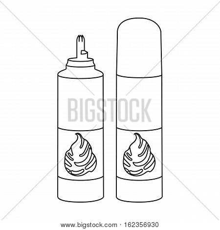 Whipped cream in an aerosol can icon in outline style isolated on white background. Milk product and sweet symbol vector illustration.