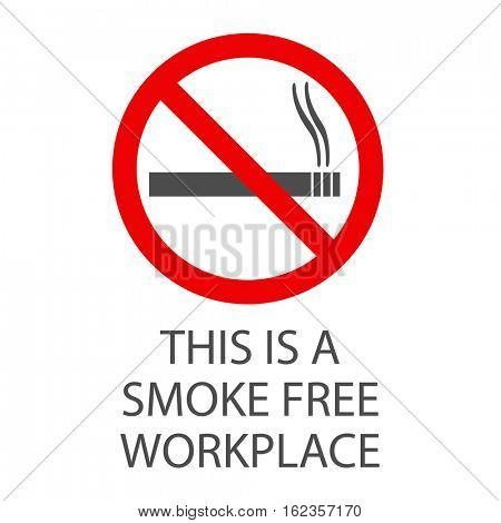 Smoke free workplace sign illustration