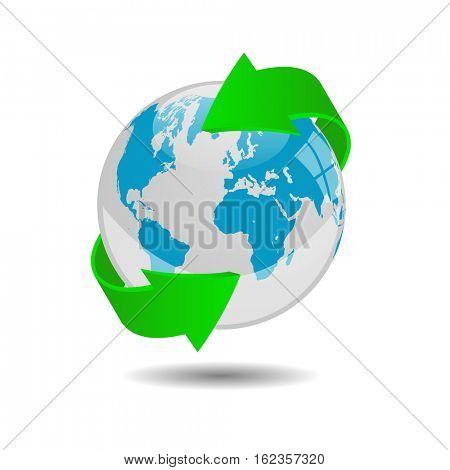 Earth globe illustration on a white background