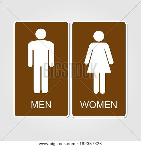 Brown restrooms sign illustration on a white background