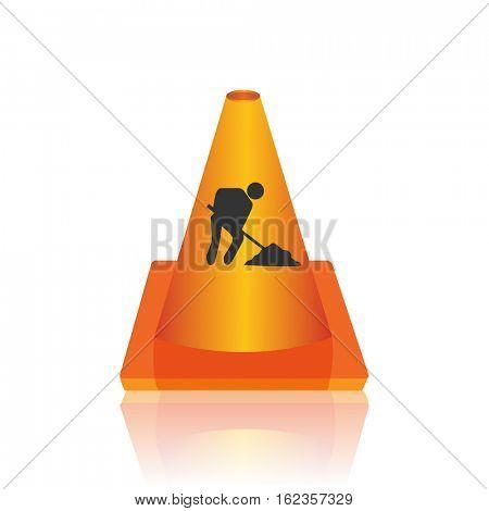Under construction cone illustration
