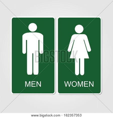 Green restrooms sign illustration on a white background