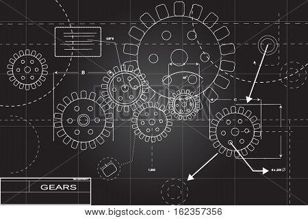 Blueprint illustration in black and white