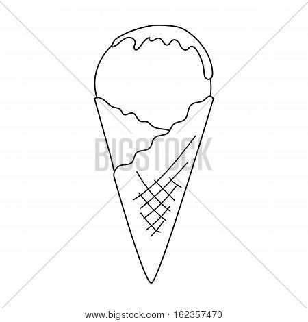 Ice cream on the waffle cone icon in outline style isolated on white background. Milk product and sweet symbol vector illustration.