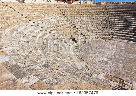 View of ancient Greek-Roman theater in Kourion Cyprus