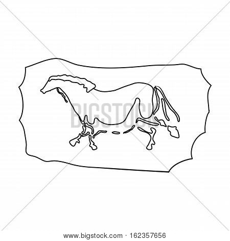 Cave painting icon in outline style isolated on white background. Stone age symbol vector illustration.