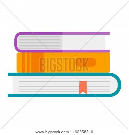 Books icon vector illustration in flat design style isolated on white. Academic learning symbol, reading school sign. Knowledge design science university literature.