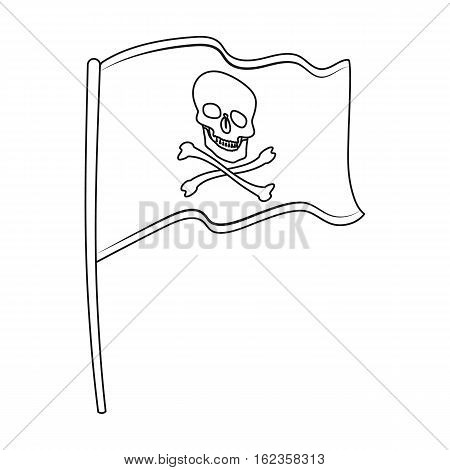 Pirate flag icon in outline style isolated on white background. Pirates symbol vector illustration.
