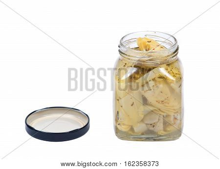 Food of love, marinated artichokes in jar isolated on white background
