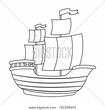 Pirate ship icon in outline style isolated on white background. Pirates symbol vector illustration.