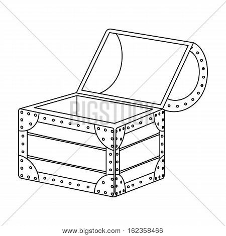 Pirate wooden chest icon in outline style isolated on white background. Pirates symbol vector illustration.