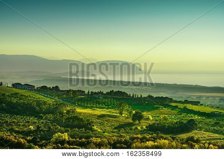 Maremma sunset panorama. Countryside sea and Elba island on horizon. San Vincenzo Tuscany Italy.