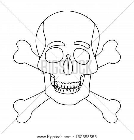 Pirate skull and crossbones icon in outline style isolated on white background. Pirates symbol vector illustration.