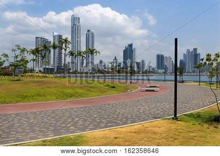 View of the financial district in downtown City of Panama Panama with a park and Palm Trees; Concept for travel in Panama