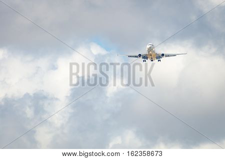 Airplane Approaching The Airport And Landing In Miami