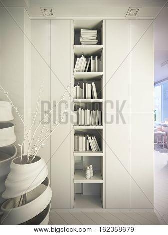 3d illustration of a townhouse interior design in a modern, minimalist style