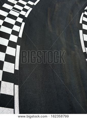 Car race asphalt and chess curb on Grand Prix street track