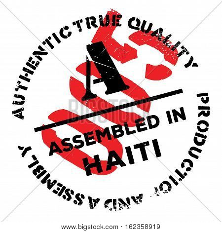 Assembled in Haiti rubber stamp. Grunge design with dust scratches. Effects can be easily removed for a clean, crisp look. Color is easily changed.
