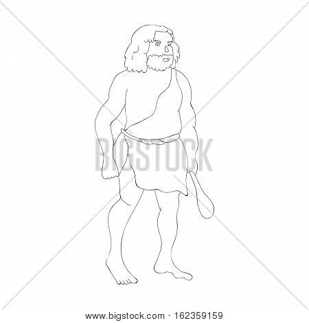 Primitive man with truncheon icon in outline style isolated on white background. Stone age symbol vector illustration.