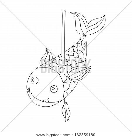 Fish on the spear icon in outline style isolated on white background. Stone age symbol vector illustration.