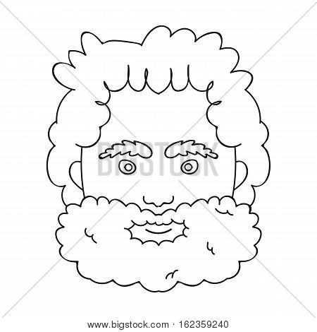 Caveman face icon in outline style isolated on white background. Stone age symbol vector illustration.
