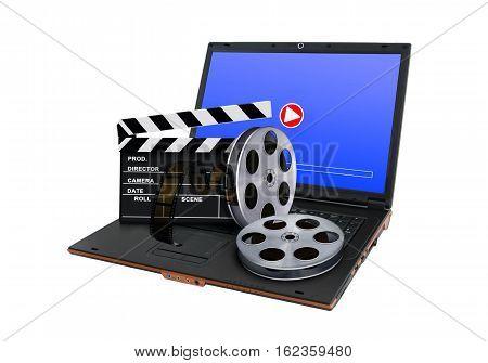 Online digital movie concept over white background