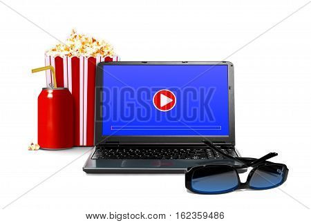 Watching movie online concept over white background