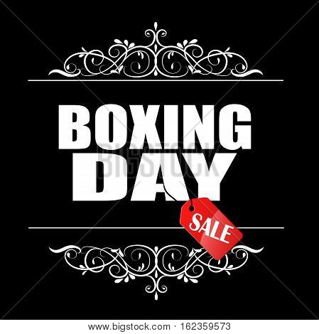 Boxing Day sale banner with swirls in frame and hanging tag