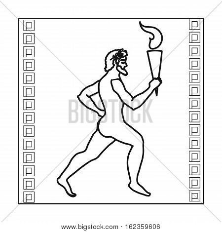 Athlete with olympic fire icon in outline style isolated on white background. Greece symbol vector illustration.