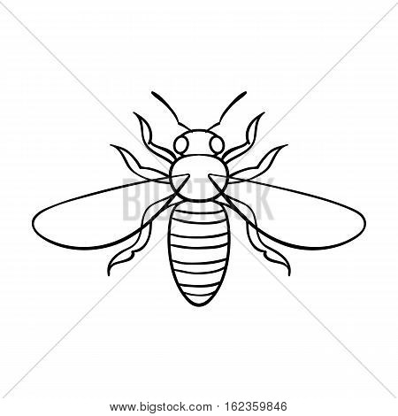 Bee icon in outline design isolated on white background. Insects symbol stock vector illustration.