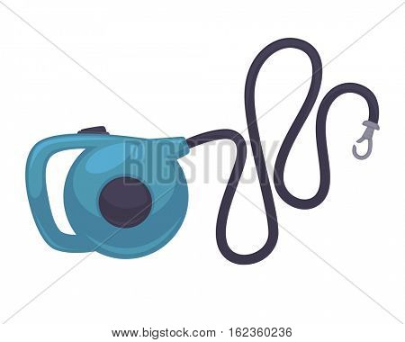 Blue retractable leash for dog. Vector icon of roulette lead for control and safety pets. Animal accessory for outdoors walk. Cartoon illustration isolated on white background.