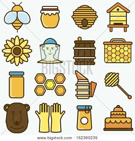 Honey and beekeeping icons set. Vector organic apiculture symbols: bee barrel and wax jar, apiary with beehive and beekeeper, honeybee and honeycomb. Illustration isolated on white background.